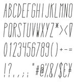 Tall And Skinny Italic Alphabet, Numbers And Symbols Royalty Free Stock Images