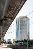 Tall skyscraper in Genoa, called Matitone, as seen from underneath the Sopraelevata street Stock Image