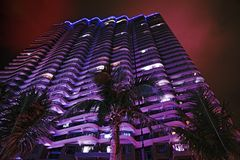 Tall skyscrapers and beautiful palms, night city in the tropics, the combination of nature and architecture. royalty free stock photography