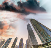 Tall skyscrapers of Dubai Marina at sunset, UAE Royalty Free Stock Photos