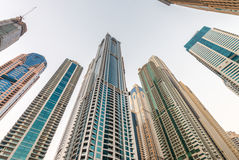 Tall skyscrapers of Dubai Marina, UAE Stock Images
