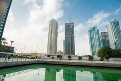 The tall skyscrapers in dubai near water Royalty Free Stock Images