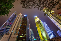 Tall skyscrapers of the modern city. View from the foot Stock Photography