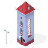 Tall slim house. Isometric blue building, red roof. Funny architecture. Royalty Free Stock Photography