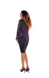 Tall Slim Woman Standing From Back. Stock Photo