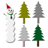 Tall Snowman and christmas tree illustration.  Stock Photography