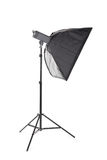A tall softbox isolated on a white background. Professional photographic equipment. A softbox with a flashlight. Lighting tools. Royalty Free Stock Photo