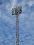 Tall spotlights tower with 12 bulbs. Royalty Free Stock Images