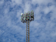 Tall spotlights tower with 12 bulbs. Stock Images