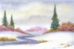 Tall spruce near the creek in snowy field. Watercolor landscape. Winter. Tall spruce near the creek in snowy field stock illustration