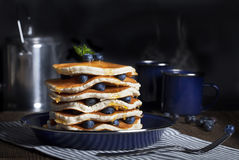 Tall Stack Blueberry Pancakes Stock Photo