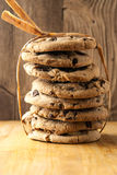 Tall stack of chocolate chip cookies Stock Photo