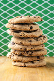 Tall stack of chocolate chip cookies Royalty Free Stock Photography