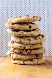 Tall stack of chocolate chip cookies Royalty Free Stock Images
