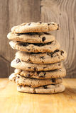 Tall stack of chocolate chip cookies Stock Image