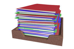Tall stack of file folders Stock Photo