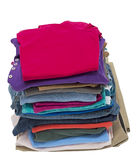 Tall Stack Of Folded Clothing Shot On An Angle Stock Images