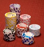 Tall stacks of chips Royalty Free Stock Photo