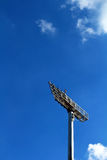 Tall stadium lights with sky. A tall stadium lights with sky Royalty Free Stock Photography