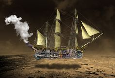 Tall Steampunk Sailing Ship Surreal stock photo