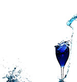 Blue liquid in glass Stock Images