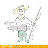 Tall Stories, boastful fisherman. Editable vector graphic in linear style Stock Image