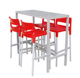 Tall Table with Red Chairs Royalty Free Stock Image