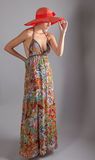 Tall Thin Woman in Maxi Dress Royalty Free Stock Image