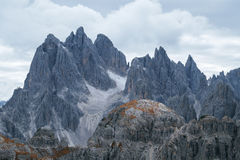 Tall towers of Cadini di Misurina in Dolomite Alps Stock Photo