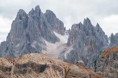 Tall towers of Cadini di Misurina in Dolomite Alps. Italy Royalty Free Stock Photos
