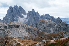 Tall towers of Cadini di Misurina in Dolomite Alps. Italy Stock Images