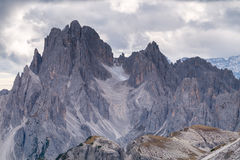 Tall towers of Cadini di Misurina in Dolomite Alps Royalty Free Stock Images