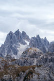 Tall towers of Cadini di Misurina in Dolomite Alps Royalty Free Stock Photography