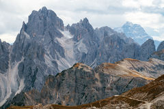 Tall towers of Cadini di Misurina in Dolomite Alps Royalty Free Stock Photos