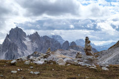 Tall towers of Cadini di Misurina in Dolomite Alps Royalty Free Stock Photo