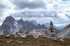 Tall towers of Cadini di Misurina in Dolomite Alps. Italy Royalty Free Stock Photo