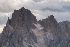 Tall towers of Cadini di Misurina in Dolomite Alps. Italy Royalty Free Stock Image