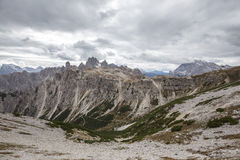 Tall towers of Cadini di Misurina in Dolomite Alps Stock Photography