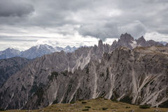 Tall towers of Cadini di Misurina in Dolomite Alps Stock Image