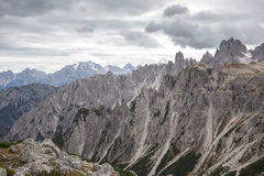 Tall towers of Cadini di Misurina in Dolomite Alps. Italy Royalty Free Stock Photography