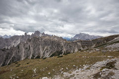 Tall towers of Cadini di Misurina in Dolomite Alps. Italy Stock Image