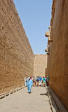Tall wall at Edfu Temple in Egypt Stock Images