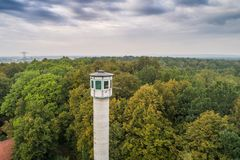 Tall watch tower in the forest. Fire prevention stock image