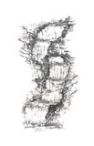 Tall waterfall Japanese style sumi-e painting. Royalty Free Stock Photo