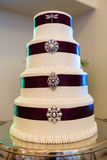 Tall Wedding Cake With Brooches Stock Photo