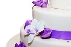 Tall wedding cake isolated on white royalty free stock image