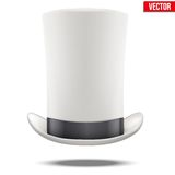 Tall White gentleman hat cylinder with black. Ribbon. Vector Illustration.  on white background Stock Photography