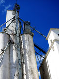 Tall White Grain Storage with Blue Sky Royalty Free Stock Images