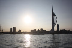 The tall white spinnaker tower overlooking portsmouth harbour in the solent Stock Photo
