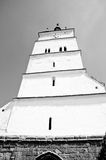 Tall white tower of a saxon church Royalty Free Stock Photos